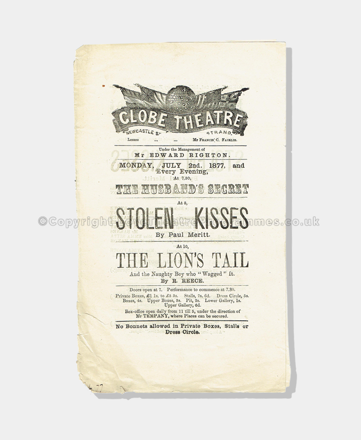 1877 - Globe Theatre - Stolen Kisses