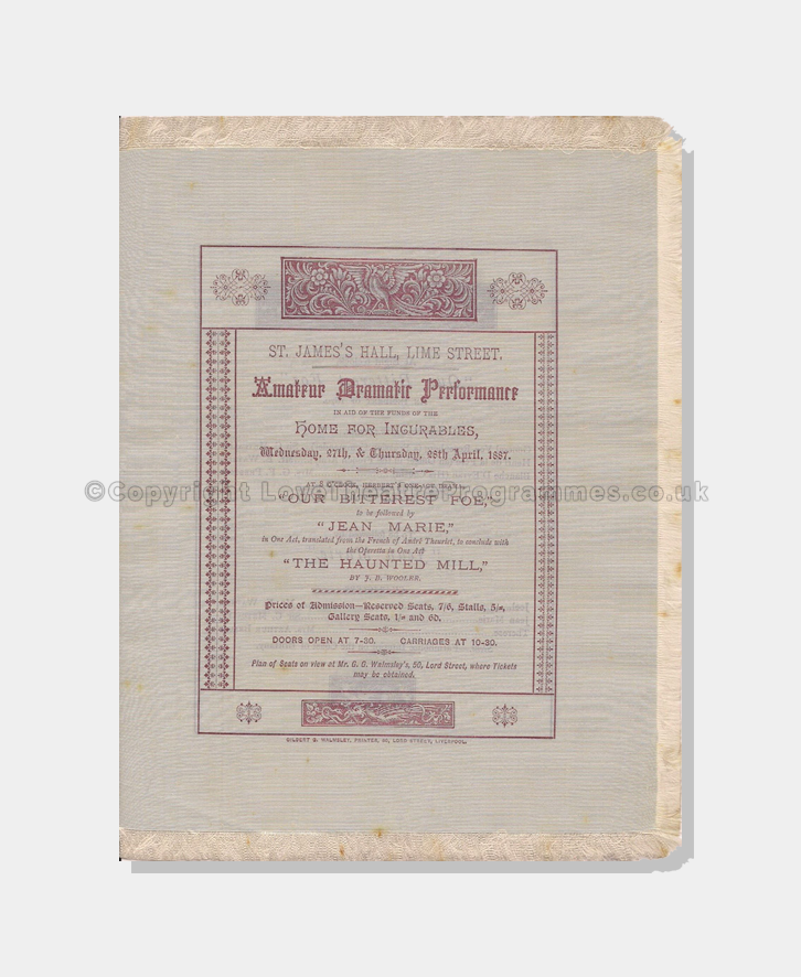 1887, St James Hall, Silk Programme