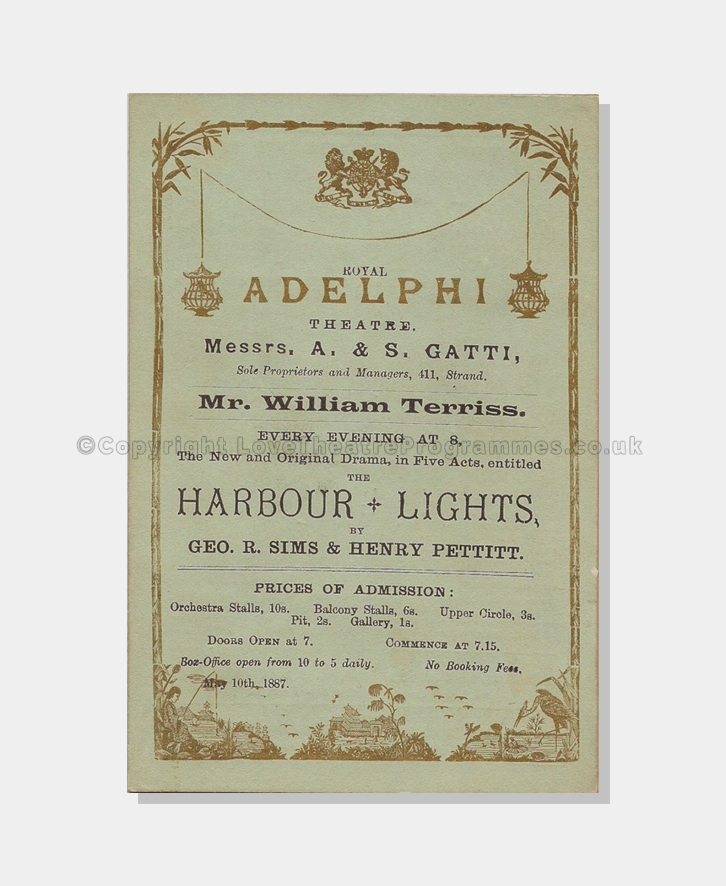 Love Theatre Programmes, 1887, The Harbour Lights