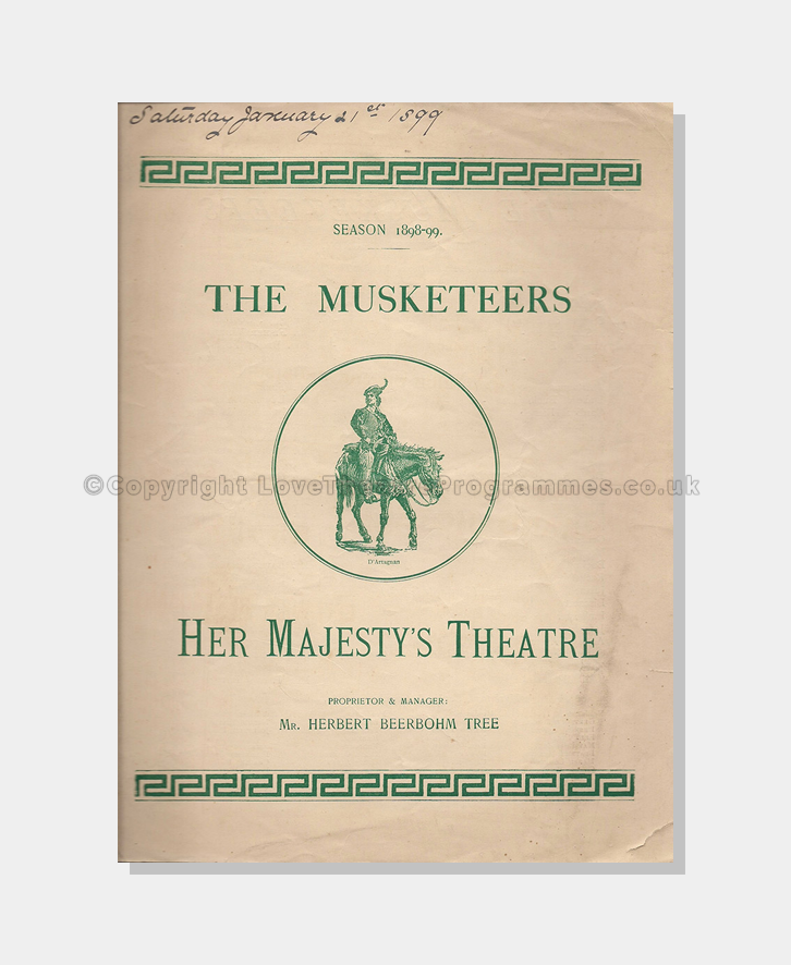 Theatre Programmes, London Theatres, Her Majesty's Theatre, 1898, The Musketeers