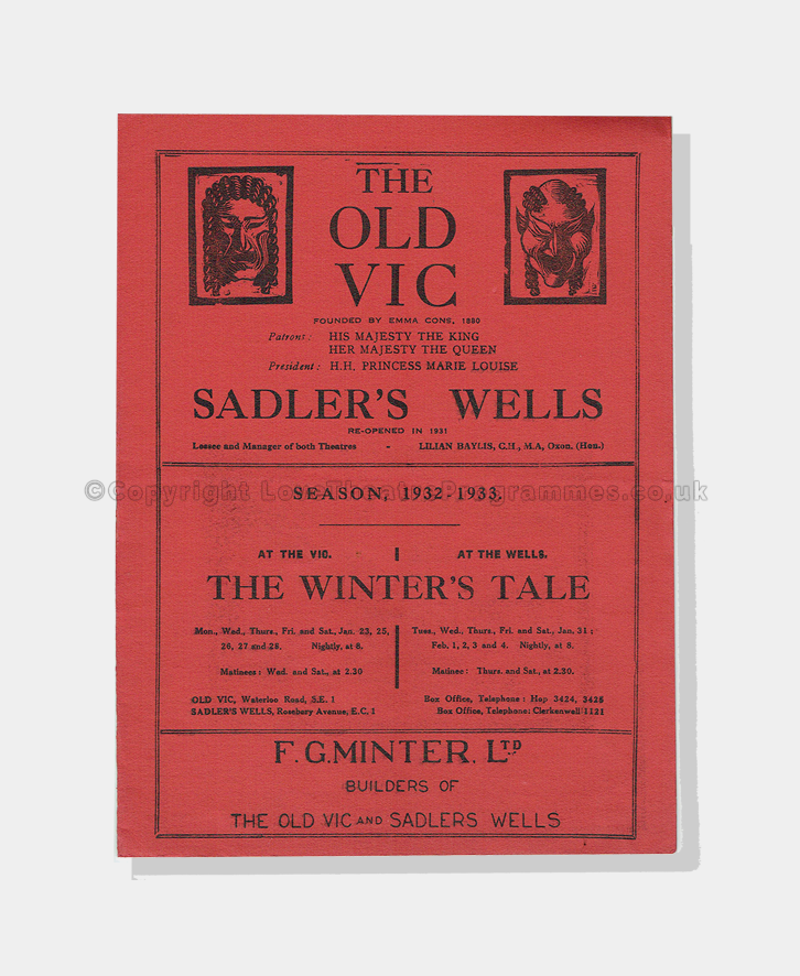 1932, THE WINTER'S TALE, theatre, theatre programmes