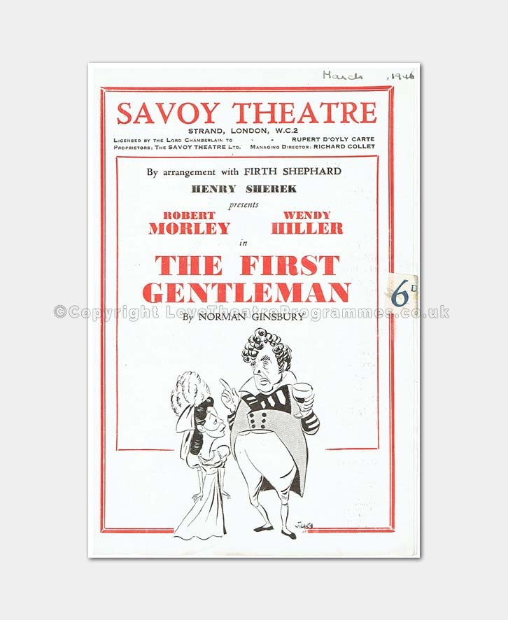 1946 Savoy Theatre The First Gentleman