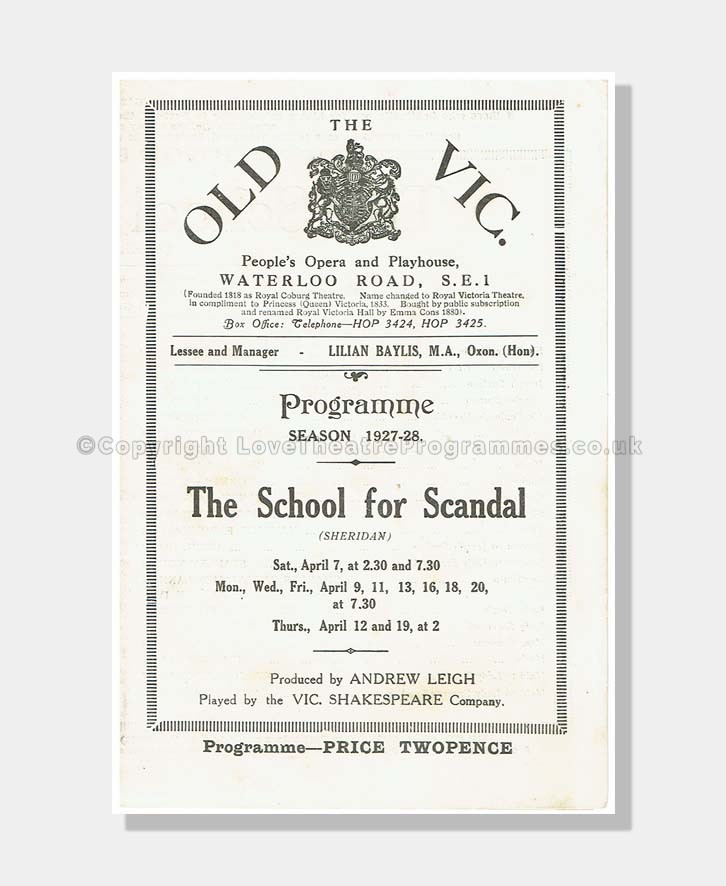 1926-27 SCHOOL FOR SCANDAL Old Vic