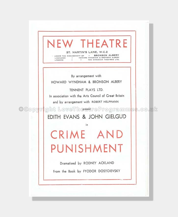 1946 CRIME AND PUNSHMENT New Theatre