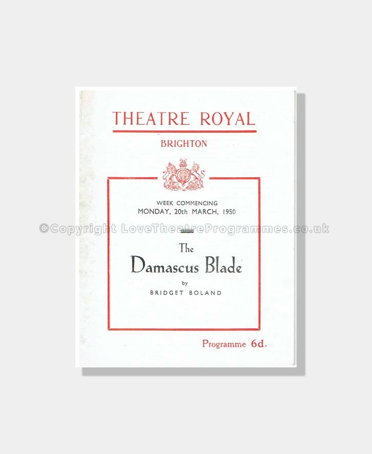 1950 THE DAMASCUS BLADE Theatre Royal Brighton