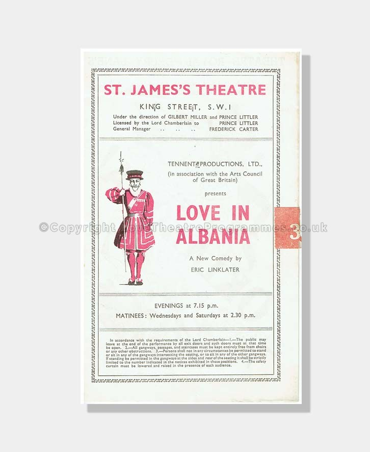 1947 LOVE IN ALBANIA St James's Theatre