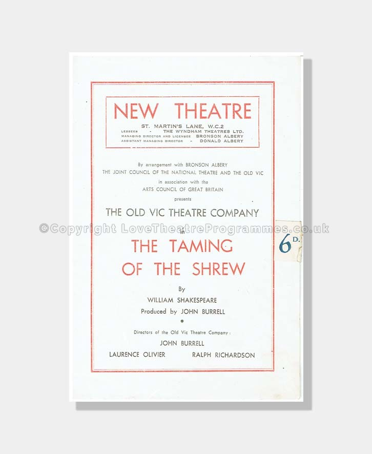 1947 TAMING OF THE SHREW New Theatre