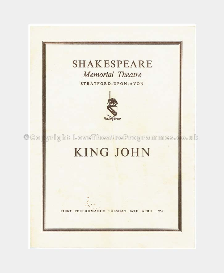 1957 KING JOHN Shakespeare Memorial Theatre