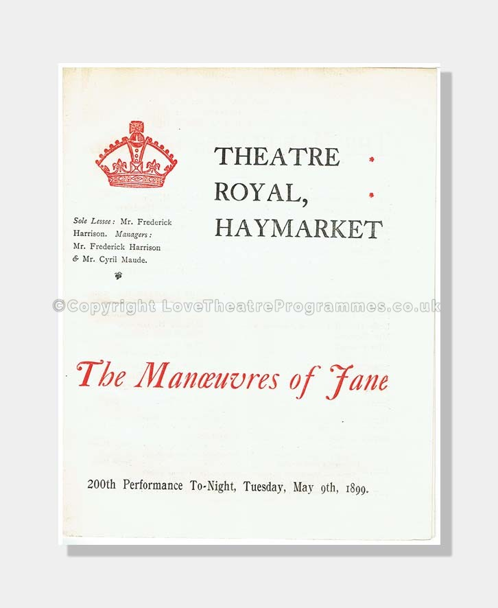 1899 MANOEUVRES OF JANE Theatre Royal, Haymarket