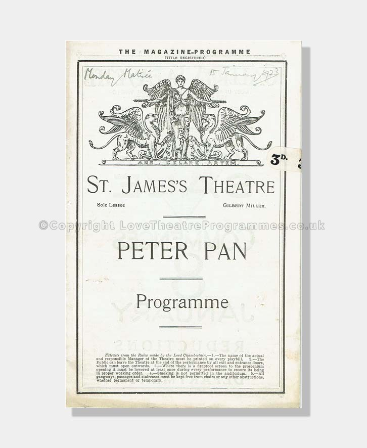 1923 PETER PAN St James's Theatre