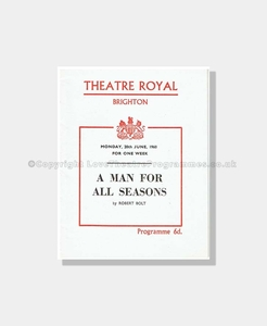 1960 A MAN FOR ALL SEASONS Theatre Royal, Brighton