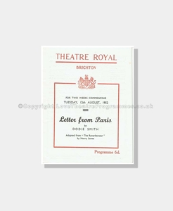1952 LETTER FROM PARIS Theatre Royal Brighton