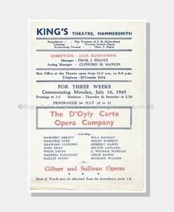 1945 GILBERT and SULLIVAN King's Theatre