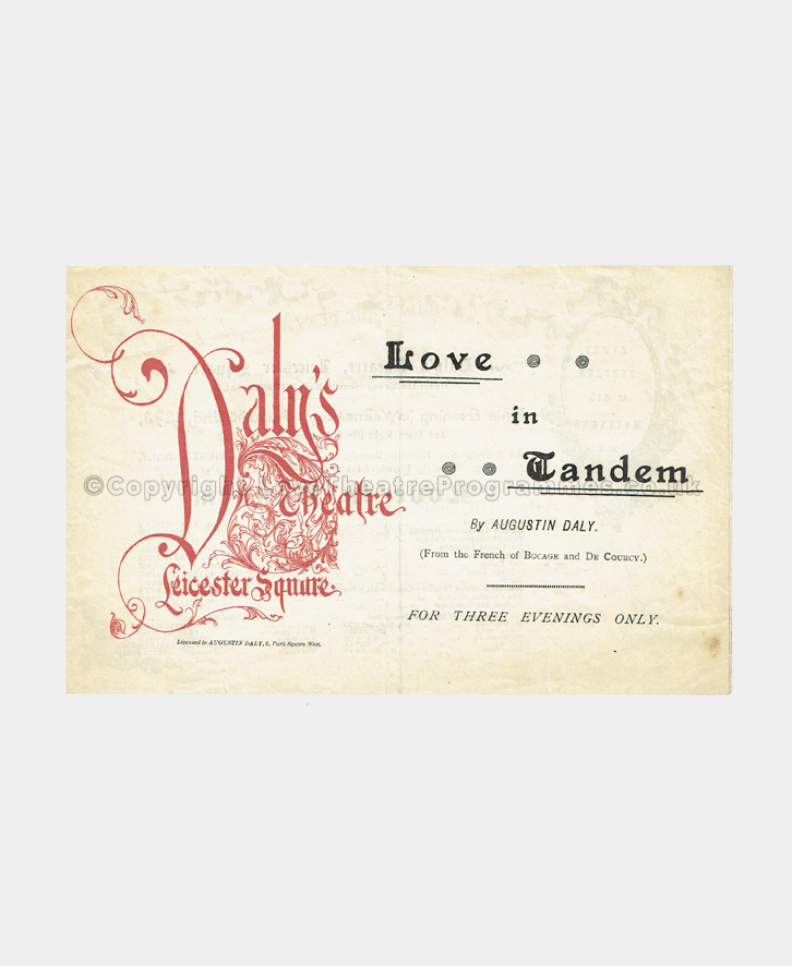 1893 DALY'S THEATRE Love in Tandem