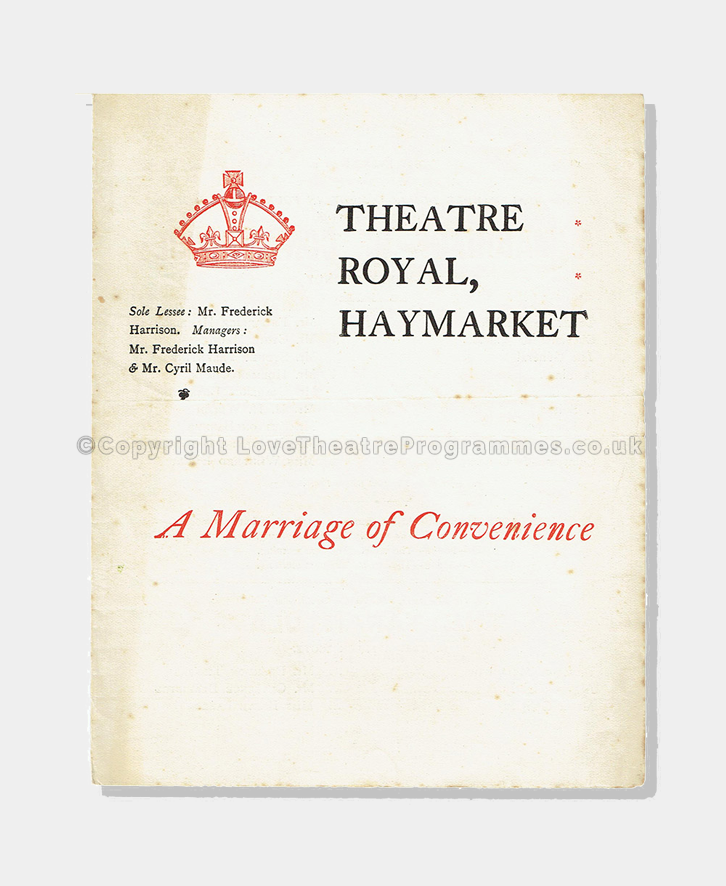 Love Theatre Programmes, Theatre programmes, 1897, A Marriage of convenience