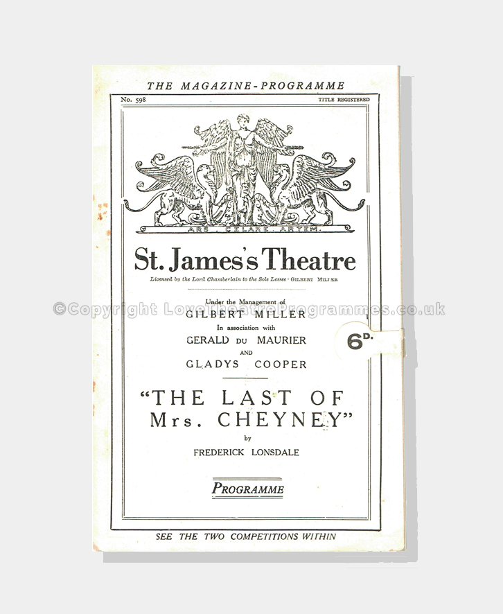 1926 THE LAST MRS CHEYNEY St James's Theatre