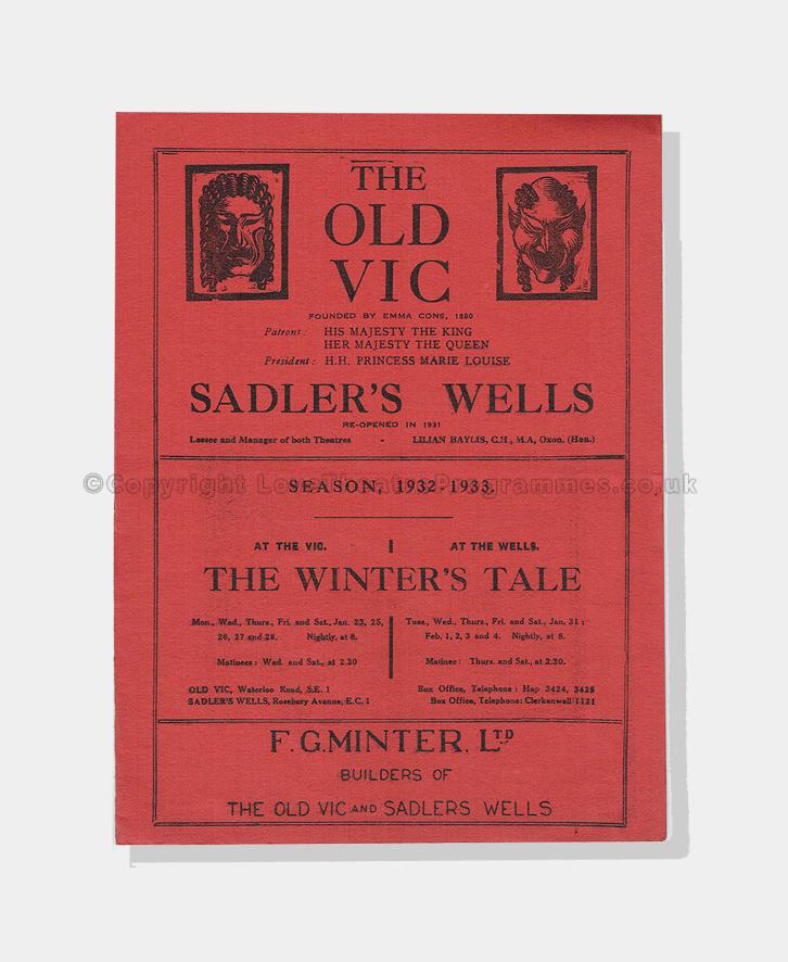 1932, THE WINTER'S TALE, theatre, theatre programmes
