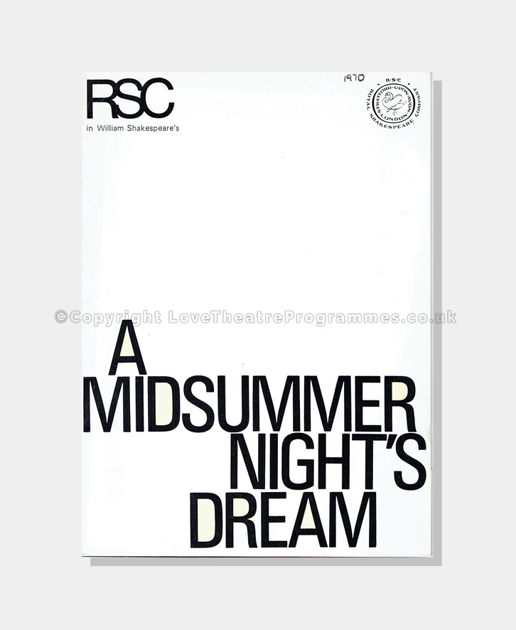 Love Theatre Programme,1970, Royal Shakespeare Company
