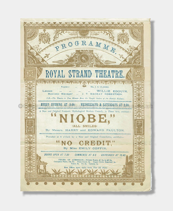 1892 - Royal Strand Theatre - Niobe