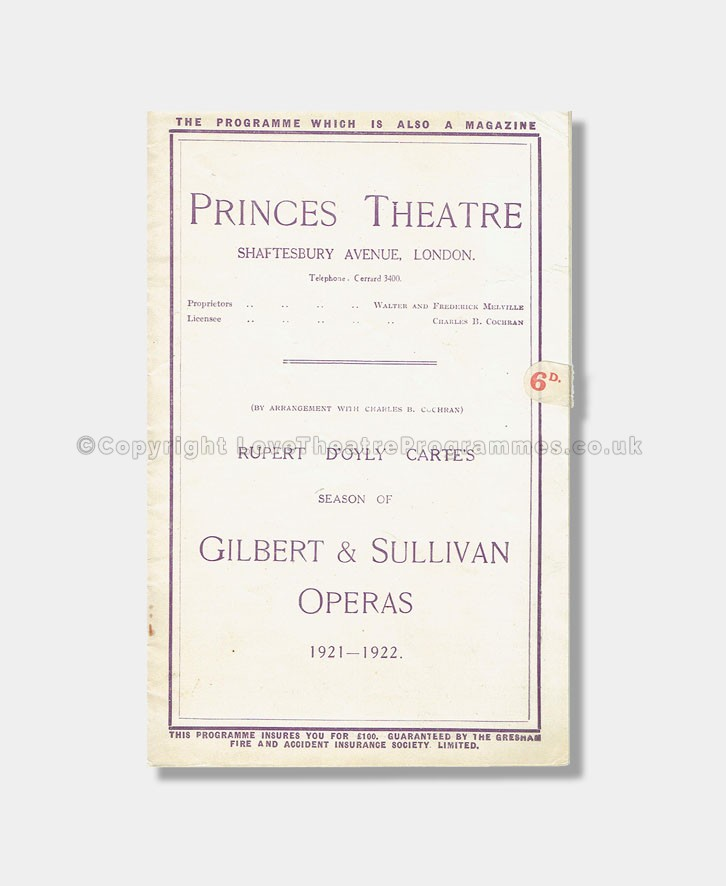 1921 - Princes Theatre - Patience