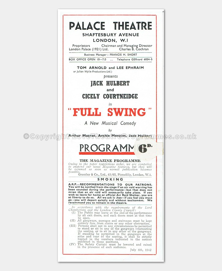 1942 Full Swing - Palace Theatre