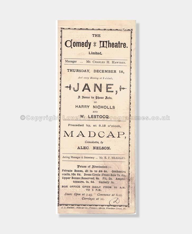 1890 Comedy Theatre, Jane