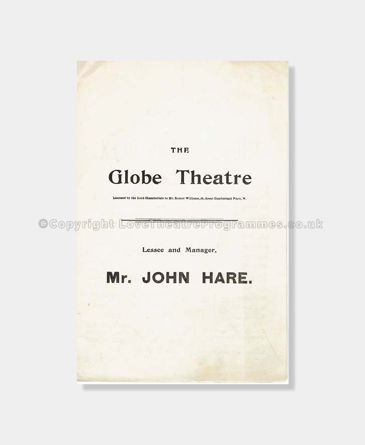 1899 Globe Theatre Gay Lord Quex