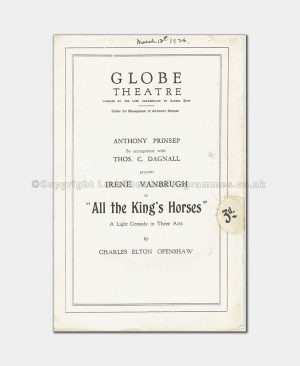 1926 Globe Theatre - All the King's Horses