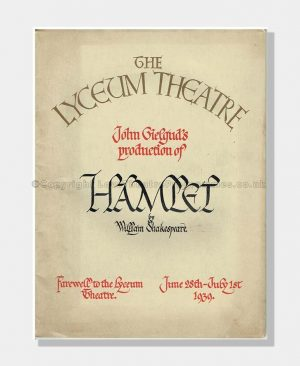 1939 HAMLET Lyceum Theatre