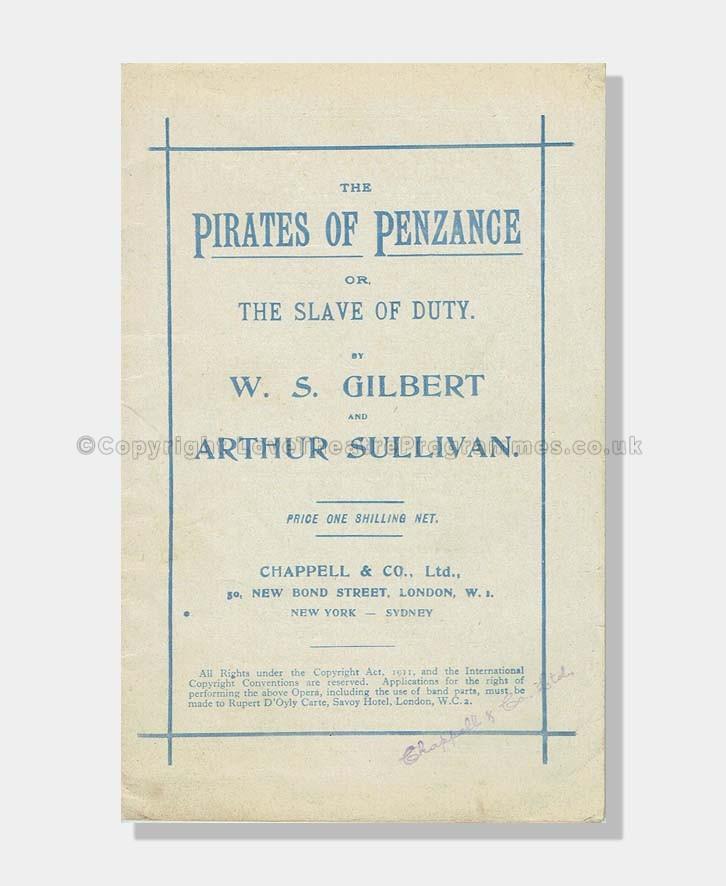 1944 Pirates of Penzance Lyrics