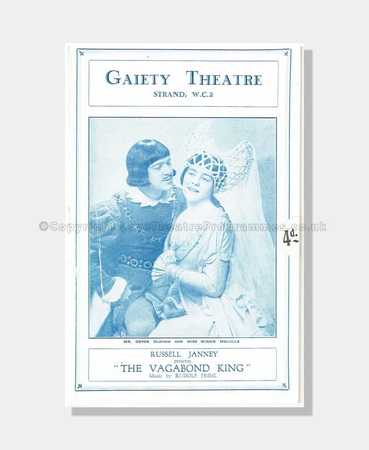 1928 VAGABOND KING Gaiety Theatre