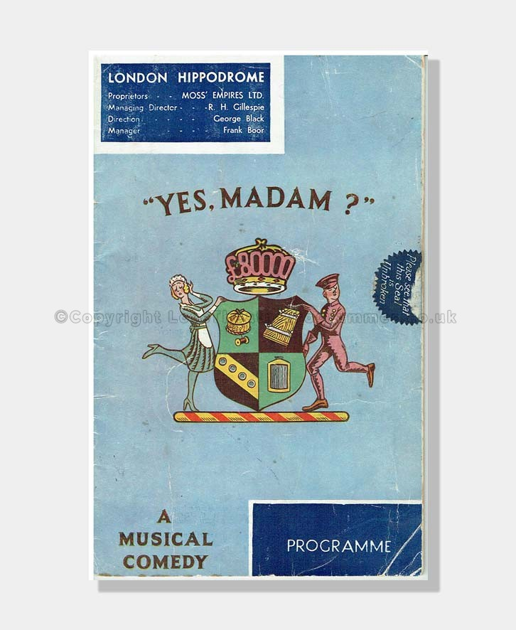 1934 YES MADAM London Hippodrome