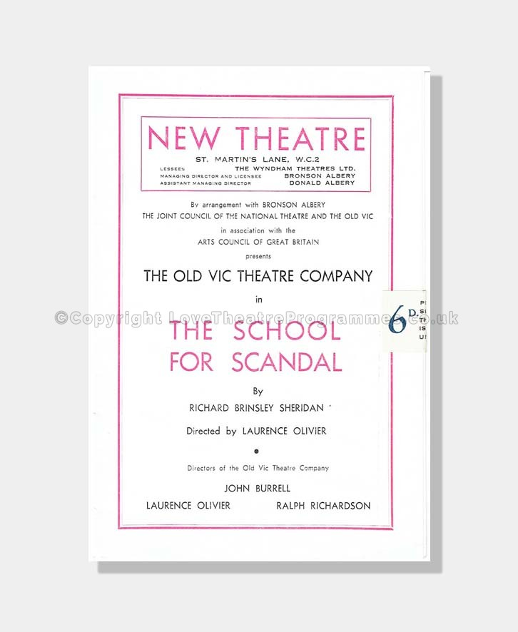 1949 SCHOOL FOR SCANDAL New Theatre