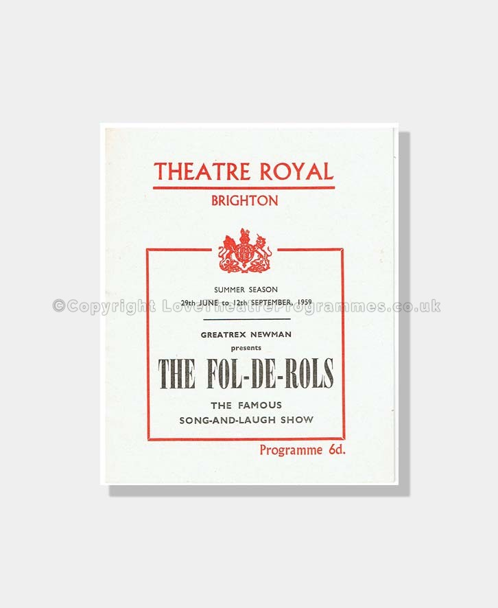 1959 FOL DE ROLS Theatre Royal Brighton