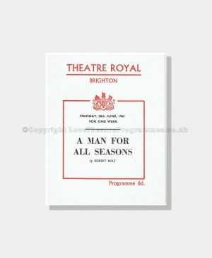 1960 A MAN FOR ALL SEASONS Theatre Royal, Brighton