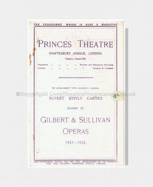1922 PRINCES THEATRE Gilbert & Sullivan Operas