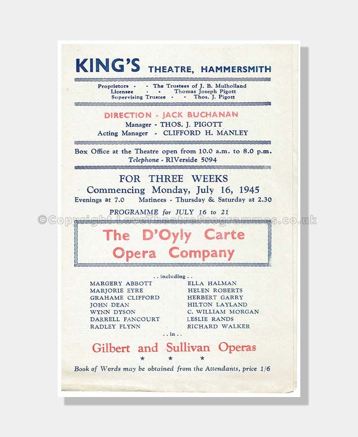 1945 GILBERT and SULLIVAN King's Theatre