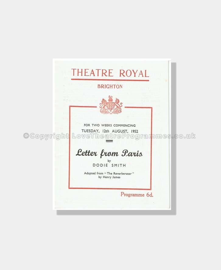 1952 LETTER FROM PARIS Theatre Royal Brighton