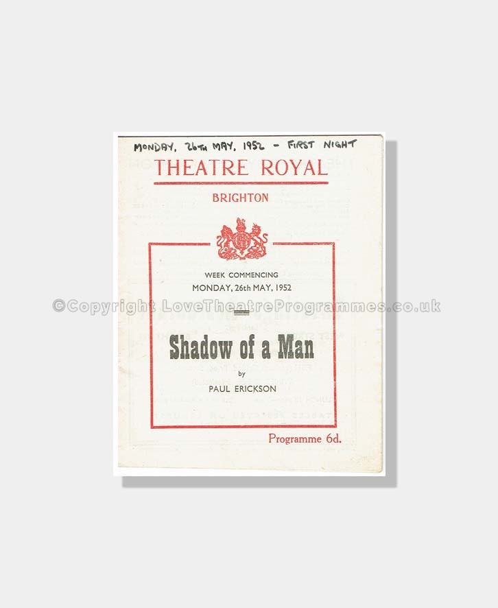 1952 SHADOW OF A MAN Theatre Royal Brighton