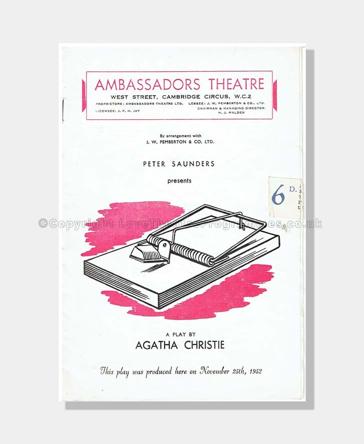1957 THE MOUSETRAP Ambassador's Theatre