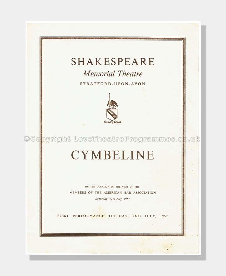1957 CYMBELINE Shakespeare Memorial