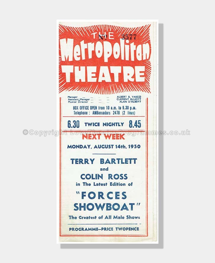 1950 TOBACCO ROAD Metropoliton Theatre