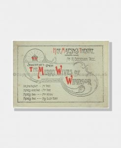 1902 MERRY WIVES OF WINDSOR Her Majesty's Theatre