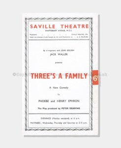 Theatre Programmes, Love theatre programmes, Threes a family, Palace Theatre, London Theatre