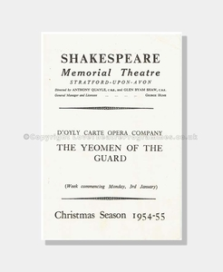1955 D'Oyly Carte Shakespeare Memorial Theatre