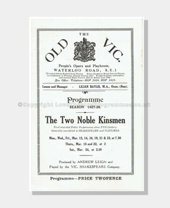 1927-28 TWO NOBLE KINSMEN Old Vic