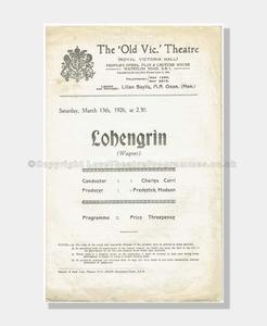 1926 LOHENGRIN Old Vic