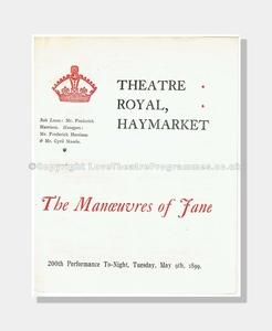 1899 MANOEUVRES OF JANE Theatre Royal, Haymarket
