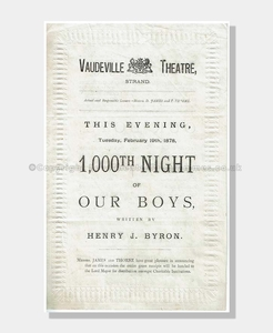 1878 OUR BOYS Vaudeville Theatre