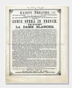 1875 GAIETY THEATRE La Dame Blanche